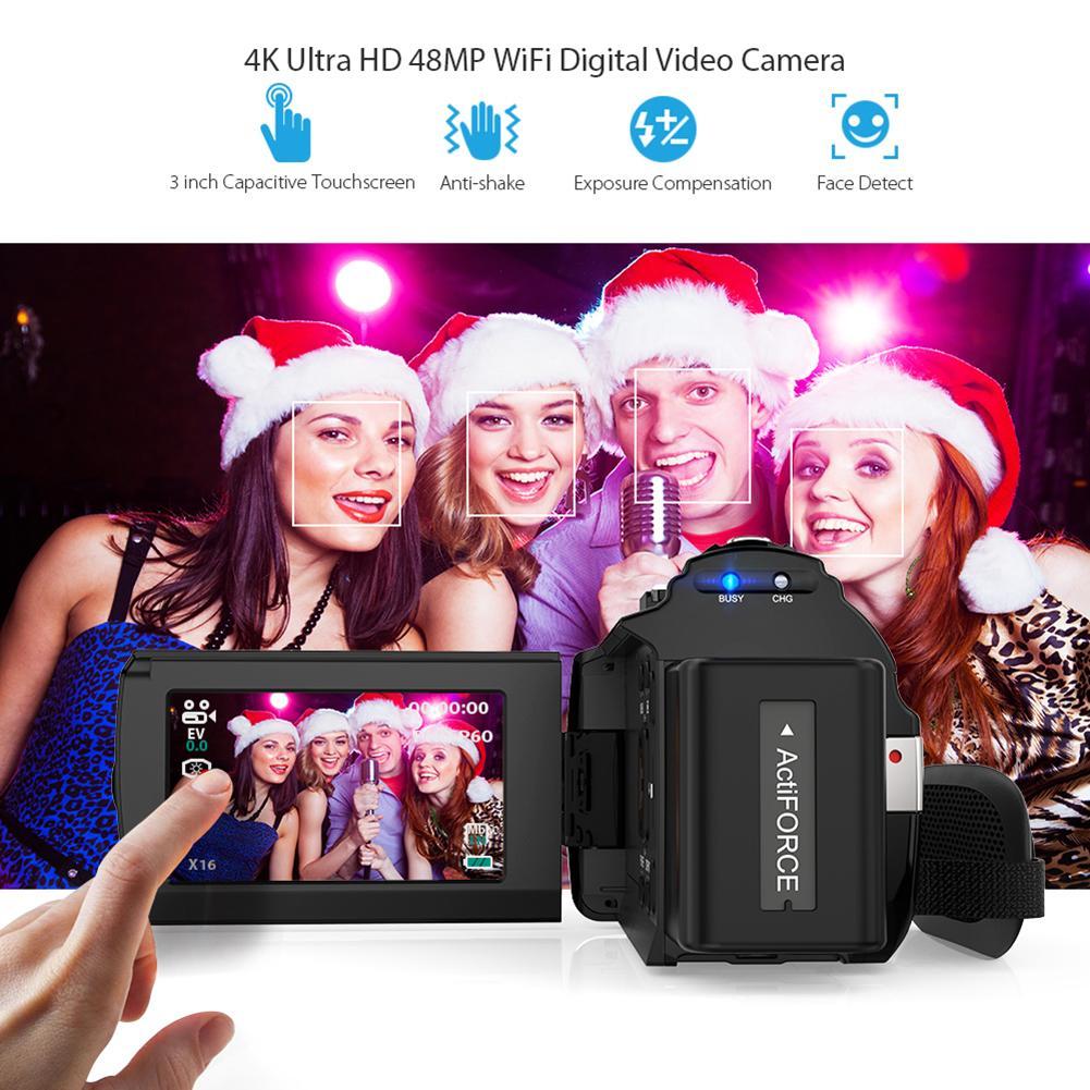 4K WiFi Ultra HD 1080P 48MP 16X ZOOM caméra vidéo numérique caméscope + Microphone + objectif grand Angle - 3