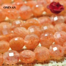 ONEVAN Natural Golden Sunstone Faceted Flat Round Coin Beads 6mm Smooth Loose Stone Diy Bracelet Necklace Jewelry Making Design onevan natural yellow jade faceted beads 6mm 8mm smooth loose round stone diy bracelet necklace jewelry making gift design