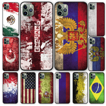 Retro national flag oil painting Black TPU Case cover For iPhone 5 5S 6 6s 7 8 Plus X XS XR 11 Pro Max us national flag style protective epoxy back case for iphone 5 5s red blue
