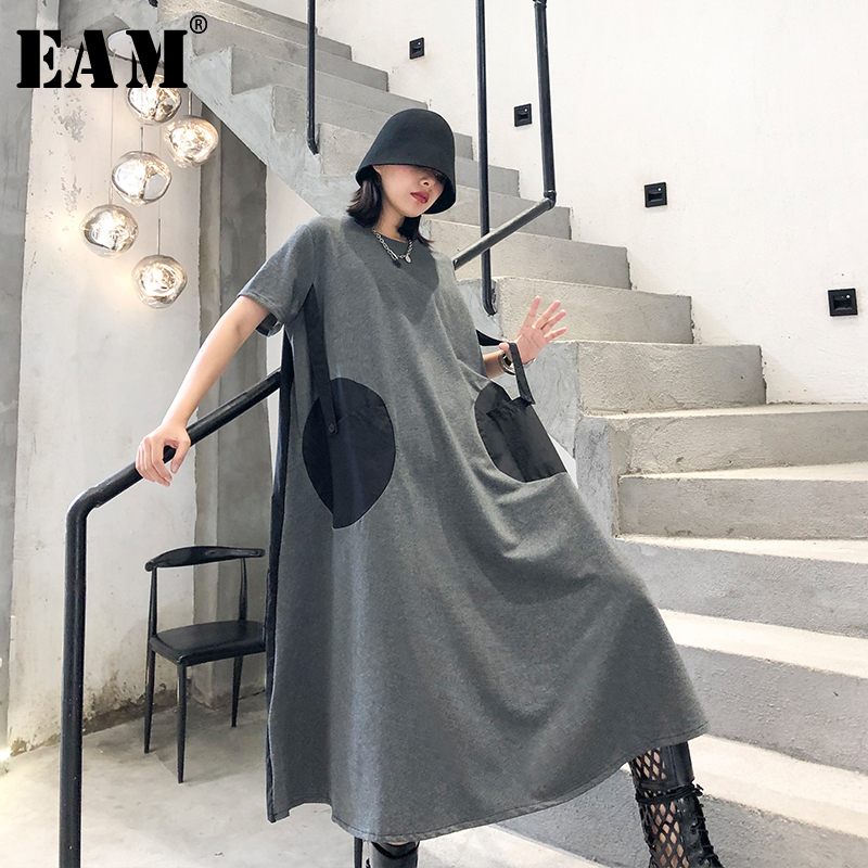 [EAM] Women Dot Pinrted Back Pleated Big Size Dress New Round Neck Short Sleeve Loose Fit Fashion Tide Spring Summer 2020 1T459