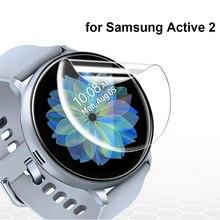 2 pçs película protetora ultra-fina para samsung galaxy watch active 2 40mm 44mm anti-bolha macia borda 3d protetor de tela capa