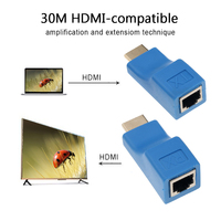 Extensor compatible con HDMI, 4K, hasta 30m, CAT5e / 6 UTP, LAN, Cable de red único, puertos RJ45 a conectores HDMI HD