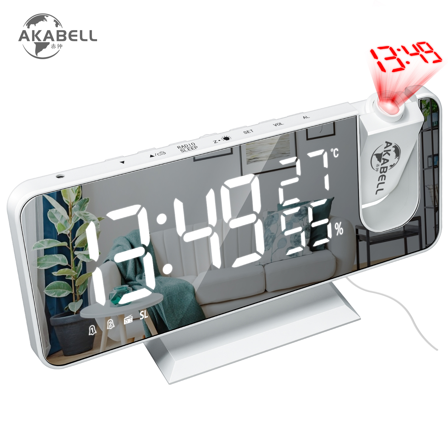 AKABELL 3D Projection Alarm Clock Radio Digital Clock with USB Charger 18CM Large Mirror LED Display Alarm Clock Auto Dimmer