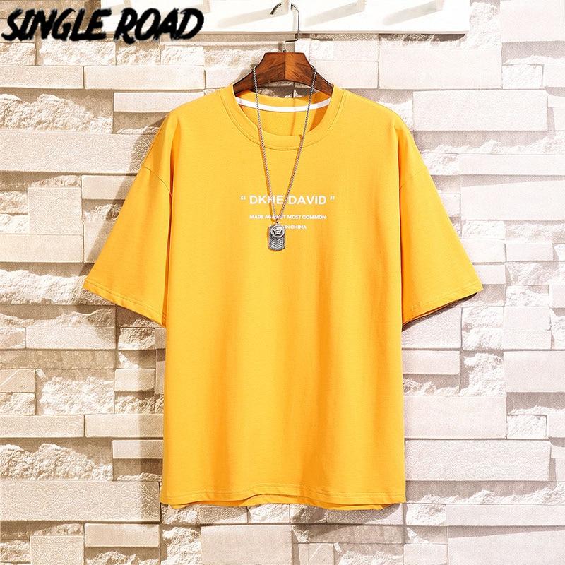SingleRoad Man's Yellow T-shirt Men Oversized Print Cotton Punk Hip Hop Japanese Streetwear Harajuku Tshirt Male T Shirt Men