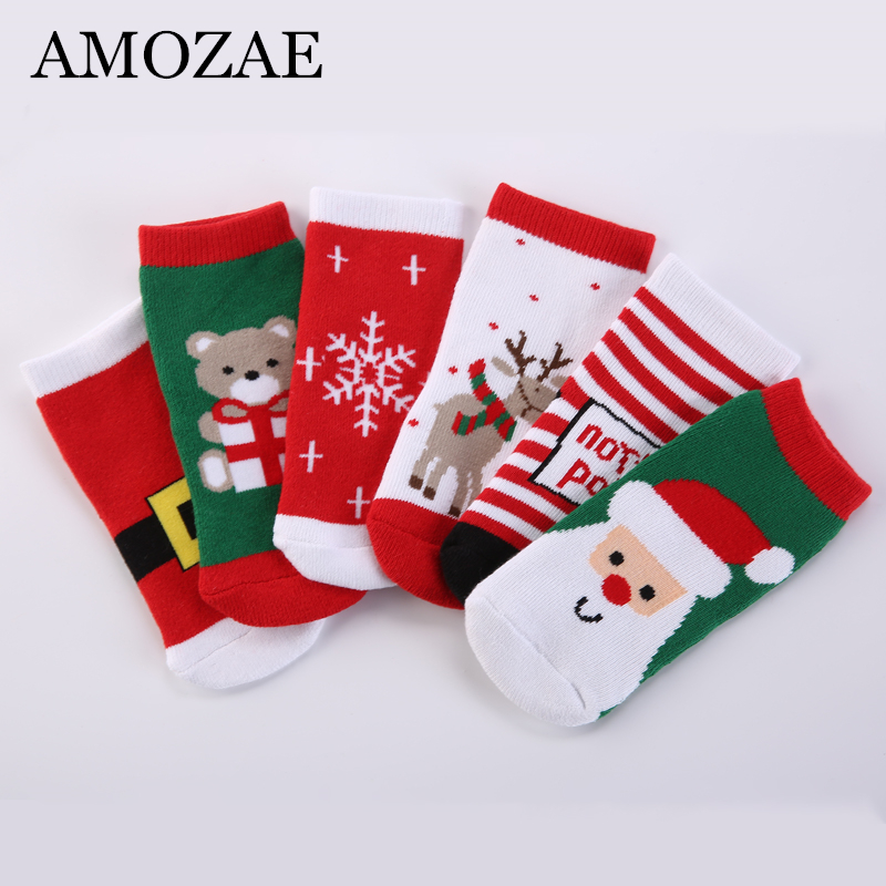 2019 New Baby Girls Boys Kids Cotton Socks Children Striped Terry Snowflake Elk Santa Claus Christmas Bear Boys&Girls Gift Socks