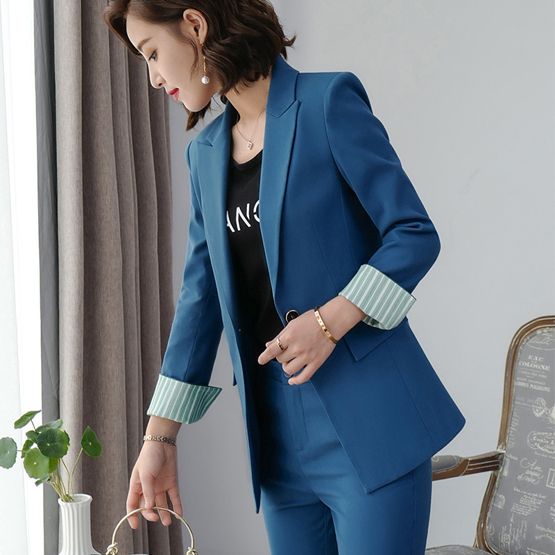 Women's clothes autumn and winter new fashion solid color single buckle lapel suit suit urban capable female overalls two-piece 40
