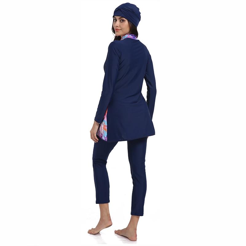 New Muslim Swimwear Women Modest Patchwork Hijab Long Sleeves Sport Swimsuit Islamic muslimah Burkinis Wear Bathing Suit