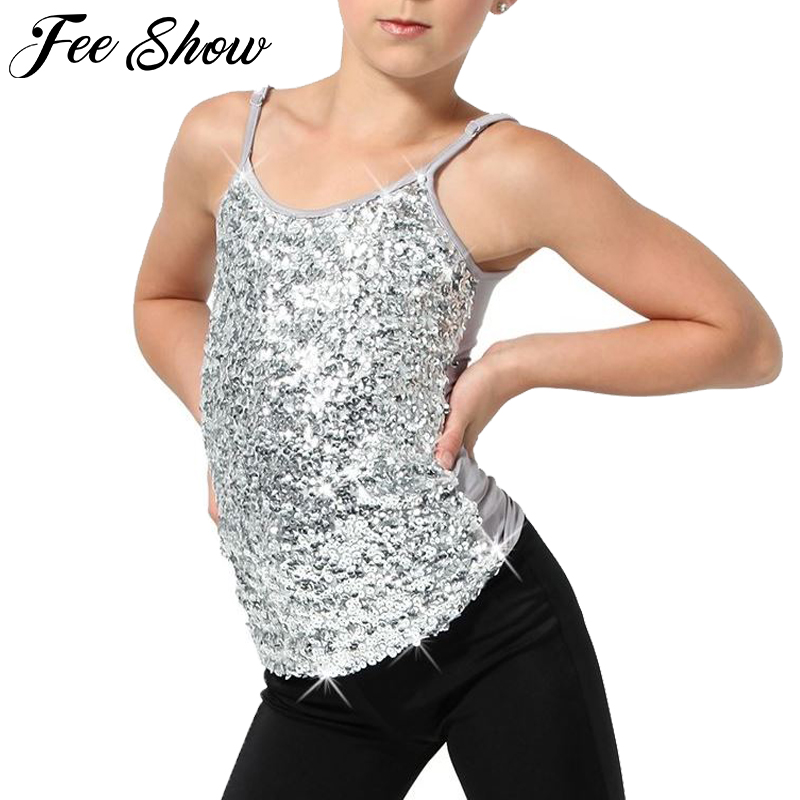 Kids Adjustable Spaghetti Straps Sparkly Sequined Tank Top Stage Performance Dance Costume Girls Gymnastics Ballet Camisole Top