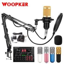 Microphone karaoké à condensateur Bm 800, pour Studio PC, radiodiffusion, chant, enregistrement, Kit avec carte son V8X