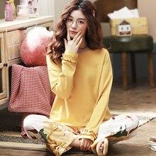 Cotton Sleepwear Long Sleeve Pajamas Set For Women Plus Size M-3XL Homewear Pijama Mujer Sl