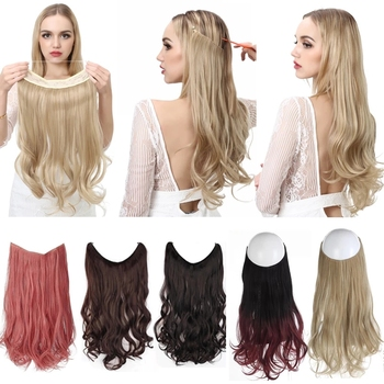 No Clip Wave Halo Hair Extensions Ombre Synthetic Natural Black Blonde Pink One Piece False Hairpiece Fish Line Fake Hair Piece 1