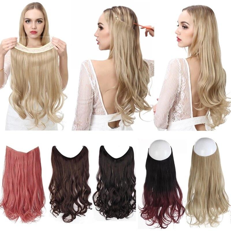 Nenhum grampo onda cabelo de auréola extensões ombre sintético natural preto loiro rosa uma peça falso hairpiece peixe linha falso pedaço de cabelo