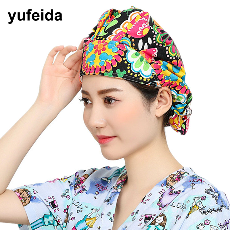 Women Surgical Caps Unisex Printing Adjustable Surgical Scrub Cap Cotton Lab Operation Hospital Doctor Nurse Medical Hat