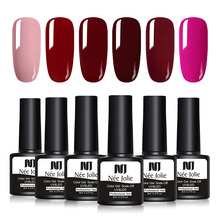 NEE JOLIE 8ml Red Series Color Nail Polish UV Gel 12 Colors Available One-shot Soak Off Art Varnish LED Lamp Need