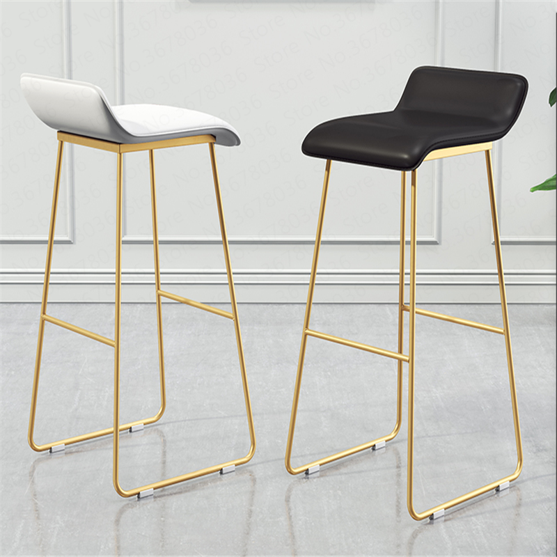 Nordic Bar Stools Cafe Lounge Stool Simple Bar Stool Designer Wrought Iron Gold High Chair Padded Bar Chair 65cm Seat Height