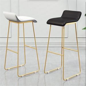 Taburetes de Bar nórdico taburete de café taburete de Bar Simple taburete de hierro forjado dorado silla alta acolchada Silla de Bar 65cm altura del asiento