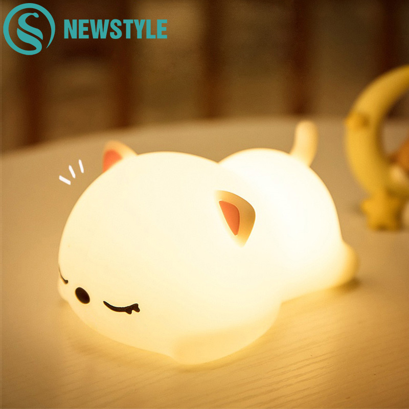 16 Colors Cat Silicone Night Light USB Rechargeable Touch Sensor Bedroom Bedside Lamp With Remote For Children Kids Baby Gift