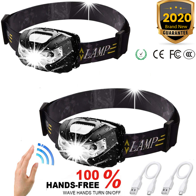 7000LM 2pcs Protable Headlamp Motion Sensor Rechargeable Headlight With USB Cable Waterproof 5 Modes Suitable For Running Camp