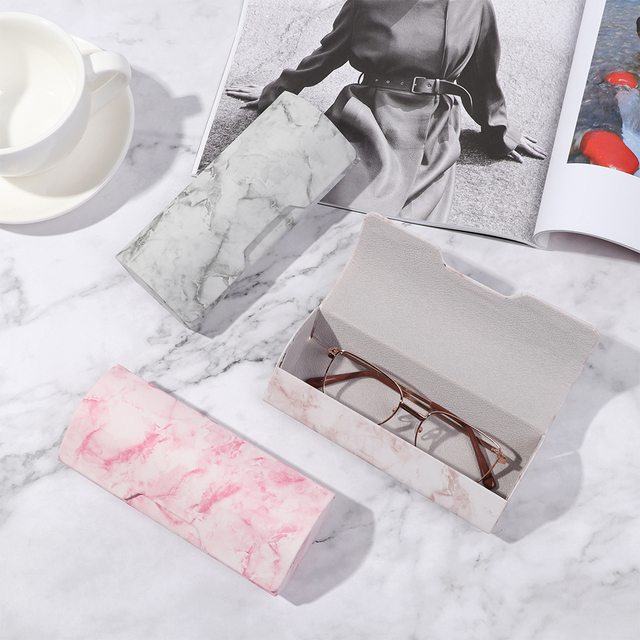 1Pc Marble Pattern Portable Magnetic Glasses Case Glasses Box Waterproof PU Eyewear Cover Sunglasses Cases Handmade Hot Sale 4