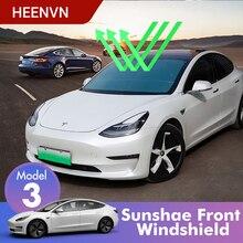 Heenvn Model3 osłony przeciwsłoneczne do samochodu szyba przednia do modelu Tesla 3 akcesoria osłona przeciwsłoneczna osłona przeciwsłoneczna przednia okładka anty UV chroniona trzy