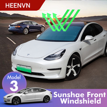 Heenvn model3 carro sun shades pára brisa para tesla modelo 3 acessórios sombra viseira frente capa anti uv protegido três