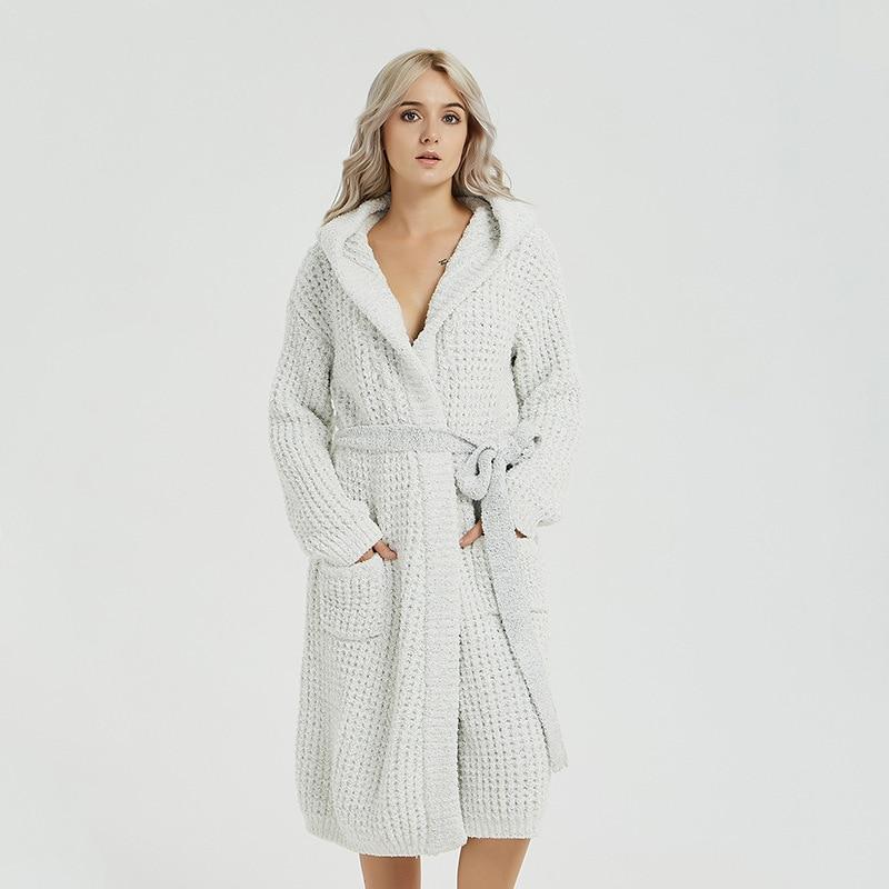 Elijah Autumn And Winter New Style Women's Robes of Belt Tracksuit Long Warm Robe Pajamas izable