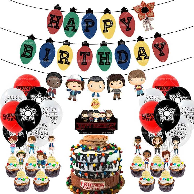 Украшения для вечевечерние «очень странные дела», воздушные шары, баннер на день рождения, топпер для торта, одиннадцать вещей, украшения дл...