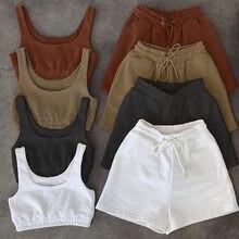 2021 Повседневная однотонная спортивная одежда, Женский комплект из двух предметов, укороченный топ и шорты с кулиской, летний спортивный кос...