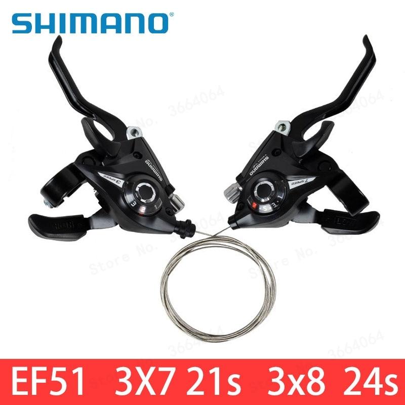 SHIMANO Bike Brake Shifters Set Brake Levers /& Shift Levers ST-EF51-7 3x7S