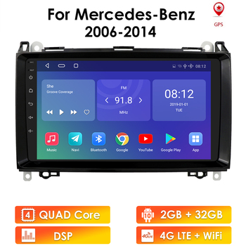 2G+32G Car Multimedia Player Android 10 2 Din GPS Autoradio For Mercedes Benz B W245 B150 B160 B170 B180 B200 B55 Sprinter Vito image