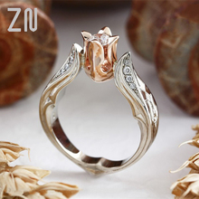 ZN Romantic Rose Gold Fashion CZ Rings Flower Shape Wedding Jewelry Double Color Ring for Women's Rings Finger Ring Women Gifts new classic luxury fashion ring 4 valve flower gold color crystal adjusted ring women cz diamond finger rings for party wedding