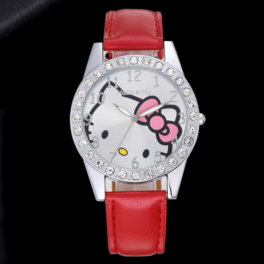 2019 Hello Kitty  Girl Watch Leather Strap Analog Quartz Clock  Fashion Dress Watch Relogio Feminino