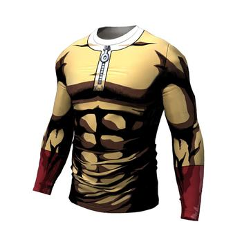 One Punch Man Running tshirts men Compression Tight shirts Gym sport training shirts bodybuilding Long sleeves clothing male
