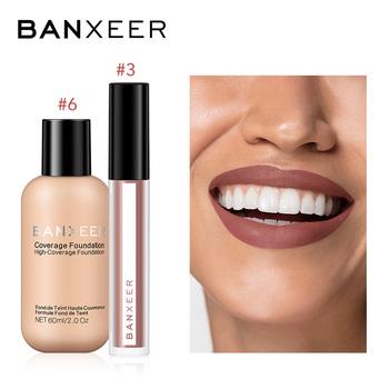 BANXEER fundacja + błyszczyk 2 sztuk zestaw do makijażu odcień ust wysoki Pigment pełna pokrywa fundacja zestaw do makeupu dla codzienny makijaż tanie i dobre opinie 2pcs set Mineral Foundation Lipgloss 2pcs in one set BX11+BX08 BANXEER Foundation+Lipgloss Makeup Set 6 Colors For choose