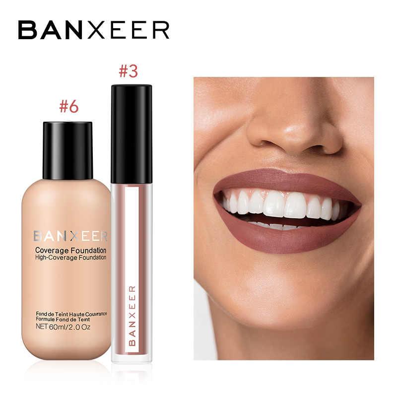 Banxeer fundação + lipgloss 2 pçs conjunto de maquiagem lábio matiz alta pigmento cobertura completa fundação maquiagem kit para maquiagem diária