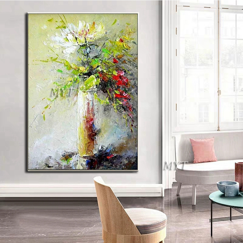 Image 3 - Texture Thick Vase Flower Handmade Oil Painting Canvas Wall Art Oil Paintings Canvas Knife Art Home Decoration Wall PicturesPainting & Calligraphy   -