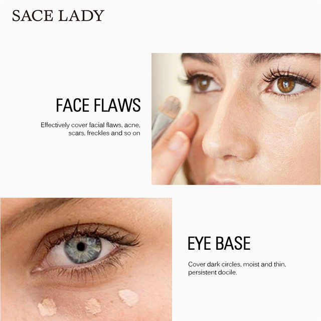 SACE LADY Professional Makeup Set Face Base Primer + Matte Foundation + Concealer Full Cover Make Up Oil-control Cosmetic Beauty & Health