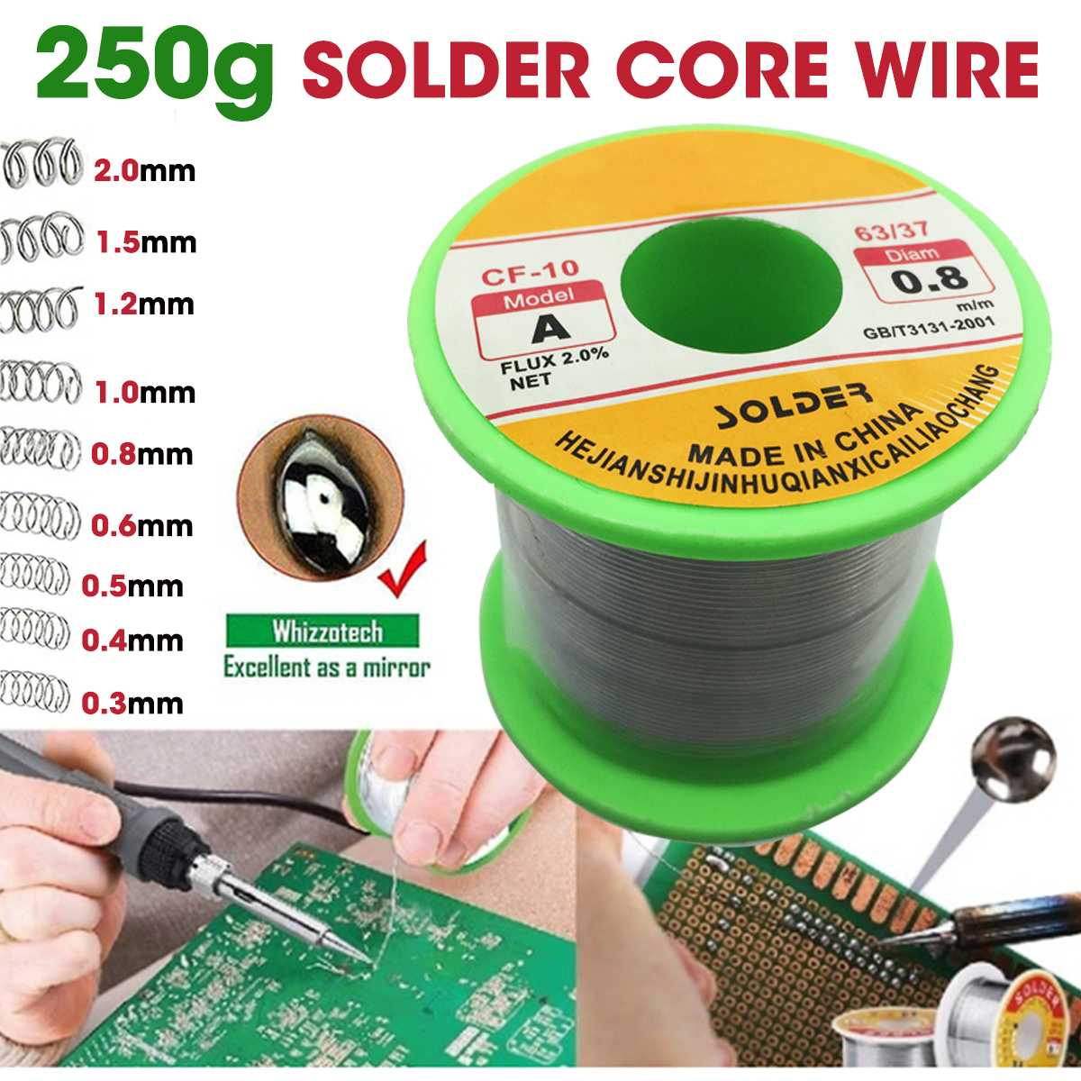 250g One Roll 63/37 Tin Lead Line Soldering 0.3/0.4/0.5/0.6/0.8/1.0/1.2/1.5/2.0mm Solder Wire Reel Soldering Tools