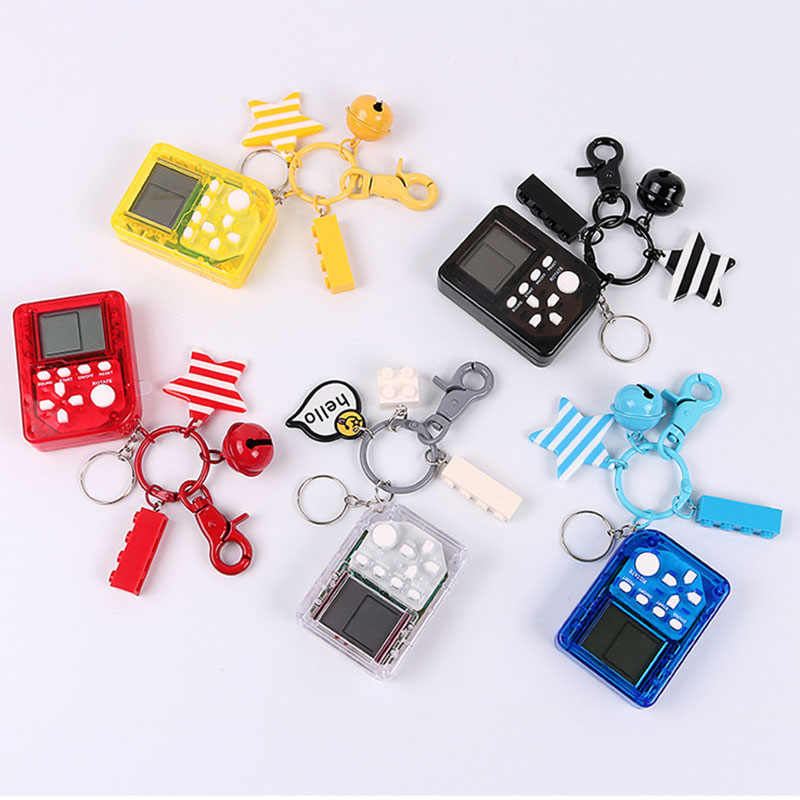1PC Stylish Fancy Creative Mini Tetris Game Machine Keychains Bag Car Pendant Key Chain Fancy Toy Key Ring Amazing Gift Keyrings