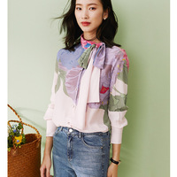 2020 print 100% silk shirt soft elegant silk tops spring new ribbon women's clothing