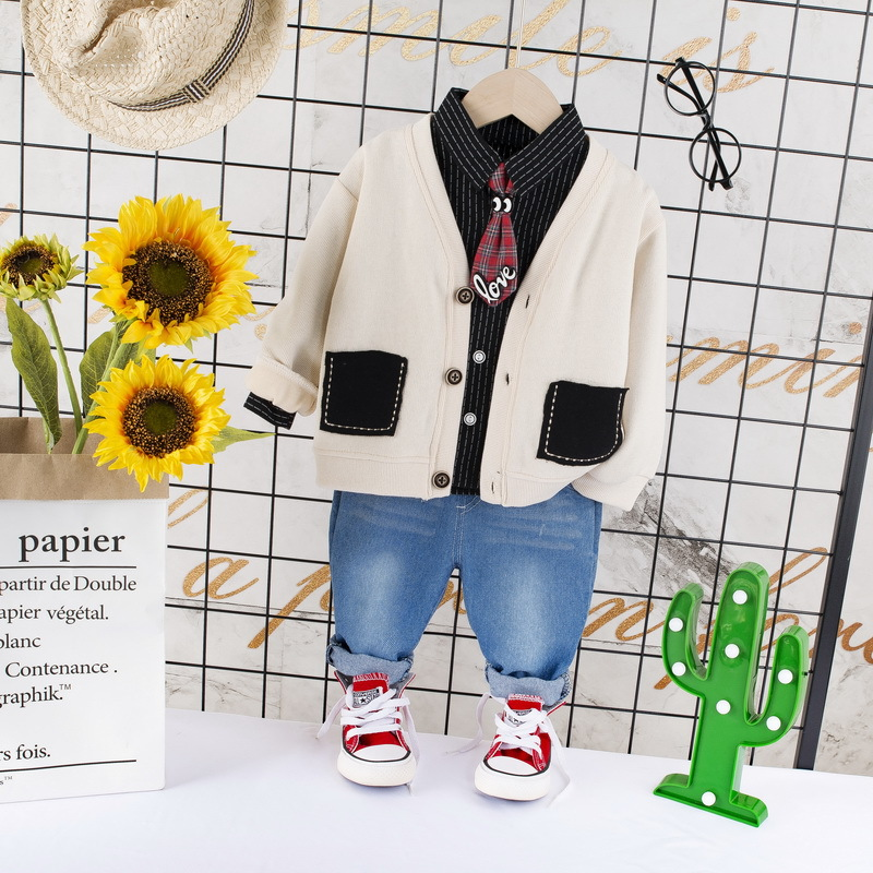 Toddler 3PCS Clothes For Boys Cotton Outfit Jacket + Striped Shirt + Jeans Set Infant Kids Children Clothes For 1 2 3 4 Years