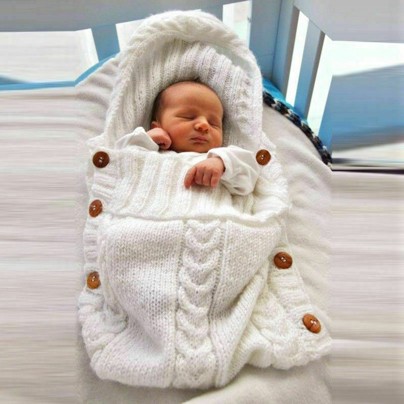 Newborn Infant Knitted Crochet Hooded Sleeping Bags Toddler Baby Boys Girls Button Blanket Knit Warm Swaddle Wrap Sleeping Bag