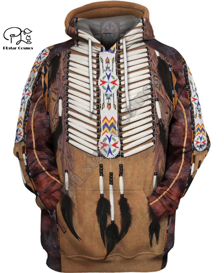 Black Native Indian 3D Hoodie Tee Men Women New Fashion Hooded Sweatshirt Long Sleeve Pullover Style-7