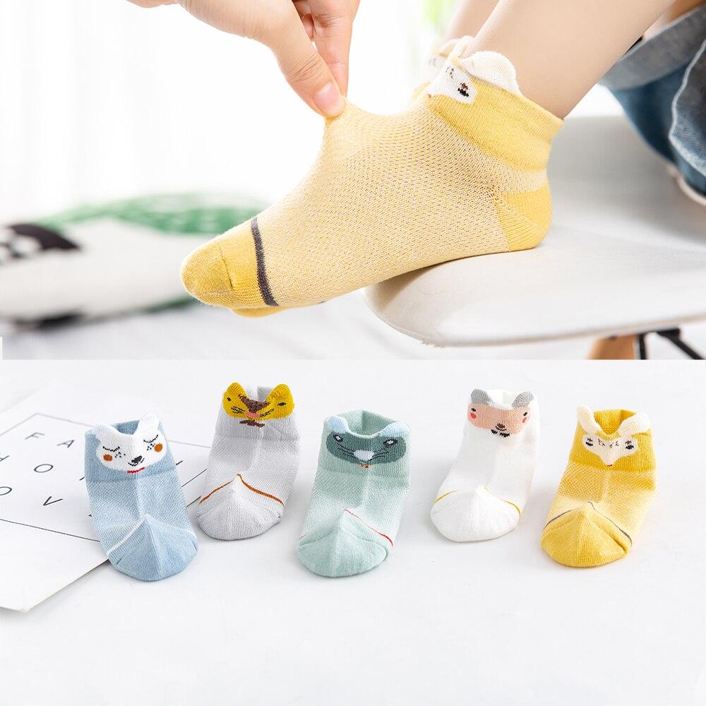 5Pairs/lot 2-9Y Kids Socks Summer Cotton 3D Cartoon Animal Kids Socks Girls Mesh Cute Newborn Boy Toddler Baby Socks 1