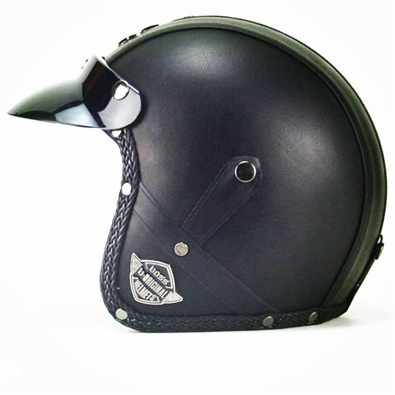 VOSS 058 czarny PU skóra otwarty kask skuter motocykl motocykl Crash kask 058M
