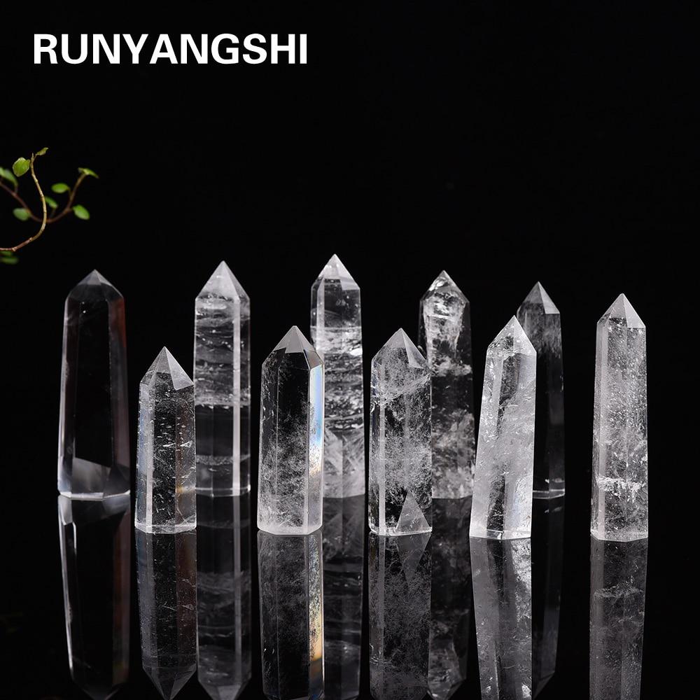 Натуральный белый кристально-прозрачный кварц 4-8 см, кварцевый кристаллический камень, точечный исцеляющий шестигранный камень для лечени...