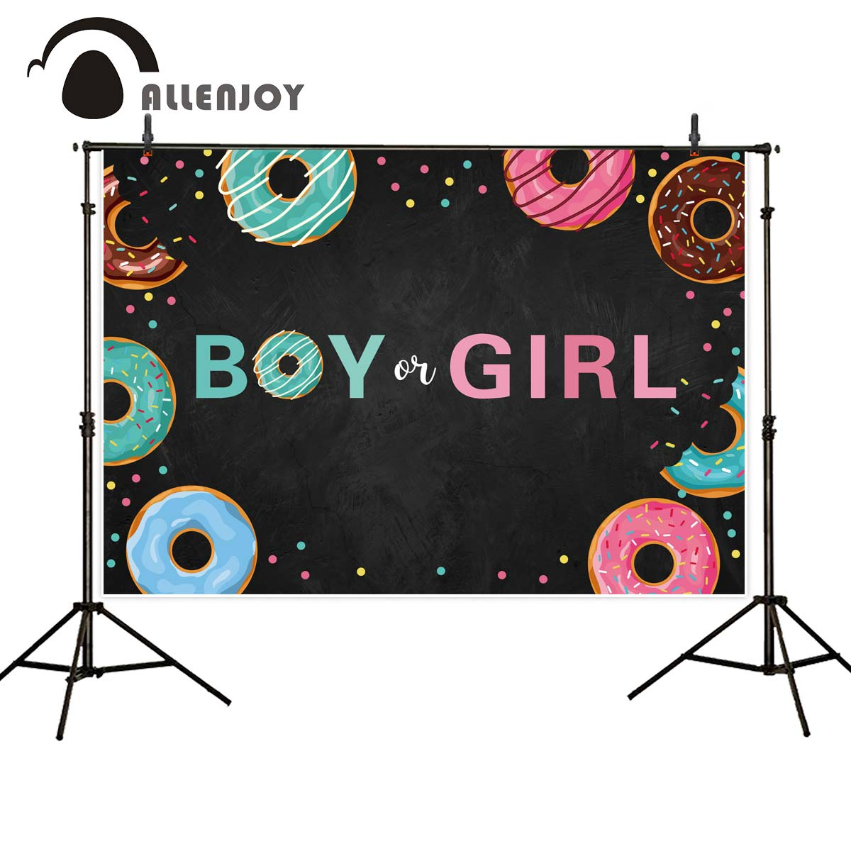 Allenjoy Donut Blackboard Background Banner Baby Shower Boy Or Girl Dot Backdrops Wallpaper Gender Reveal Party Photobooth Decor Party Backdrops Aliexpress