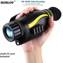 BOBLOV 4X35 Infrared Digital Night Vision Monocular 1080P 2MP Camera 16GB Video Recorder Hunting
