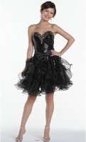free shipping 2016 new style hot sweetheart crystal Cocktail party sexy short mini black organza detachable skirt prom Dresses