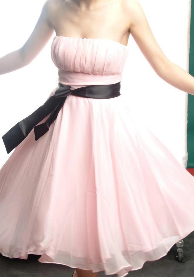 2019 Short Chiffon   Prom     Dresses   with Black Sash Chinapost Airmail Shipping time 60 Days